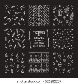 Hand drawn winter holidays textures and brushes. Artistic collection of design elements: knitted pattern, sweater ornament, gift box, christmas tree, snowflake, candy cane, pine branch background.