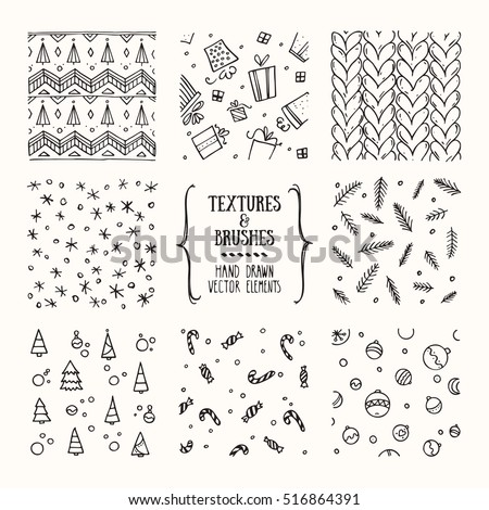 de26ca9ff8833 Hand drawn winter holidays textures and brushes. Artistic collection of  design elements  knitted pattern