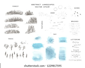 Hand drawn winter landscape creation set with forrest, single trees, field and snow  textures, sky textures, sun, birds. Pencil sketch and watercolor stain, frame. Pencils pattern brushes, lettering.