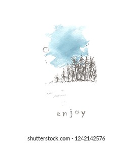 Hand drawn winter landscape with forrest, snow field, sky and sun. Pencil sketch and watercolor stain. Winter nature background design. For seasonal greetings and invitations.
