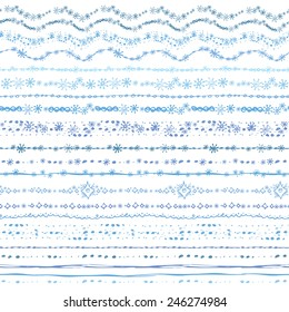 Hand drawn winter line border brushes set.Christmas Snowflake seamless pattern, ornament.Colored Doodle decor.For decorating greeting card, design template, invitations, holiday,baby design.Vector