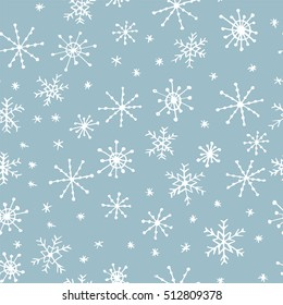 Hand drawn winter seamless patterns. Doodle Christmas, Noel, New Year backdrop. Decorative background for fabric, textile, wrapping paper, card, invitation, wallpaper, web design