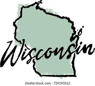 Hand Drawn Wisconsin State Sketch Design