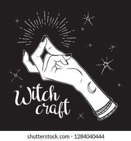 Hand drawn witch hand with snapping finger gesture. Flash tattoo, blackwork, sticker, patch or print design vector illustration