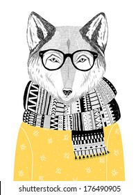 hand drawn wolf portrait in hipster glasses, scarf and sweater, winter look. Vector illustration