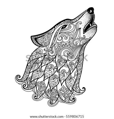 Mario Kleurplaat Kart 8 Printen Hand Drawn Wolf Side View Ethnic Stock Vector Royalty