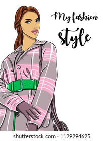 Hand drawn woman in coat. Fashion model. Vector