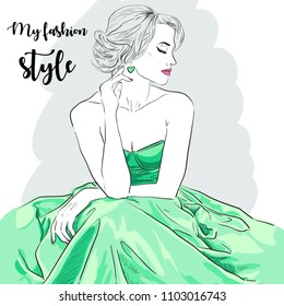 Hand drawn woman in dress. Fashion model. Vector