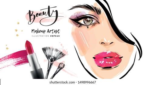 Hand drawn woman face makeup. Perfect model look. Red shiny lips. Beautiful make up fashion illustration.
