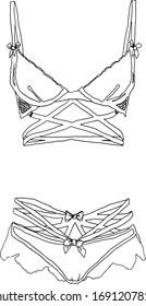 Hand drawn woman lingerie set. Line art underwear black & white illustration.