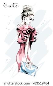 Hand drawn woman portrait. Beautiful young woman in fashion dress. Stylish lady with hand bag. Fashion model.