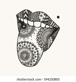 Hand drawn woman tongue out for tattoo,T-Shirt design and design element for April fools day concept.