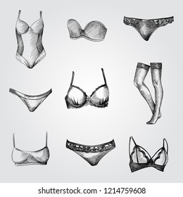 Hand Drawn Woman's underwear Sketches Set. Collection Of panties and bra, Scales, Sports bag sketches on white background. Accessories and sport equipment hand drawing sketches elements