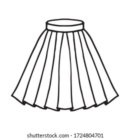 Hand drawn women skirt doodle isolated on white background