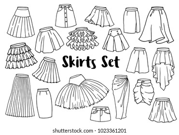 Hand drawn women skirts set, line art style isolated on white background. Vector illustration