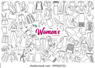 Hand drawn women's clothing doodle set background with purple lettering in vector