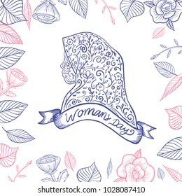 Hand Drawn Womens Day Illustration in Floral Muslimah Silhouette & Decoration Background with Typography Text . Vector Illustration eps.10