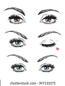 Hand drawn women's eyes vintage. Vector illustration. Fashion design