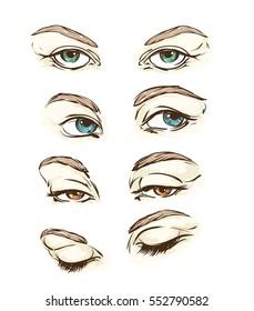 Hand drawn women's eyes vintage. Vector illustration.
