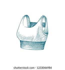Hand Drawn women's sports bra Sketch Symbol isolated on white background. Vector Sport top In Trendy Style. Accessories and sport equipment hand drawing sketches elements