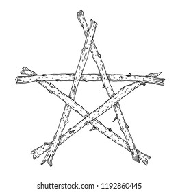 Hand drawn wooden sticks pentagram icon, magic occult wicca star symbol. Vector illustration in black isolated over white.