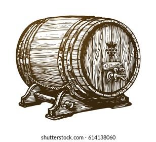 Hand drawn wooden wine cask. Drink, oak barrel sketch. Vintage vector illustration