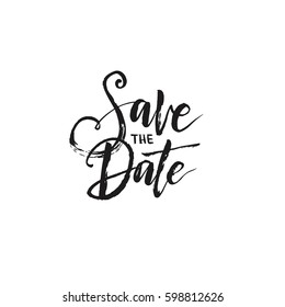 "Hand drawn word. Brush pen lettering with phrase ""Save the date"""