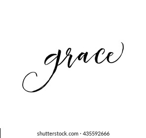 Hand drawn word Grace. Greeting quote. Ink illustration. Modern brush calligraphy. Isolated on white background.