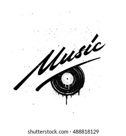 Hand drawn word with melted vinyl illustration. Vintage vector illustration for your flyer, poster, cover, packaging, badge, label, shop, some production and art works.