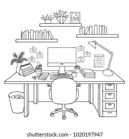 hand drawn working room isolated 260nw
