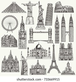 Hand drawn world famous monuments. Travel and tourism vector illustration