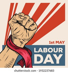 Hand Drawn of Hand for World Labour day 1 May . Vector Illustration