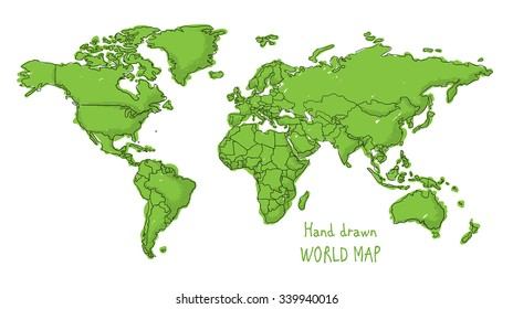 Hand drawn world map doodled with a childish cartoon style contouring the countries