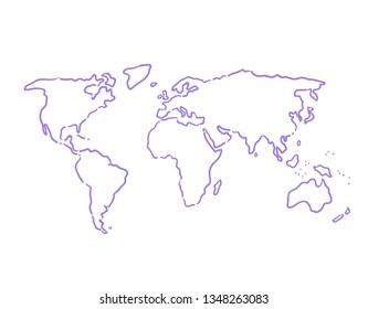 Hand drawn world map illustration