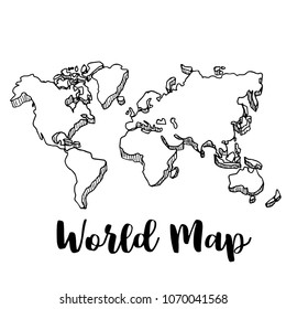 Hand drawn World map sketch,vector illustration