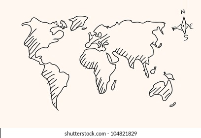 World map drawing images stock photos vectors shutterstock hand drawn world map vector gumiabroncs Gallery