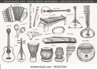 Hand drawn world musical instruments A collection of eighteen acoustic instruments