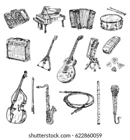 Hand drawn world musical instruments, set hand drawn doodle illustrations