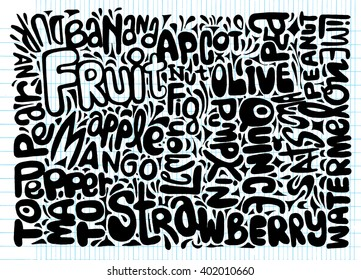 Hand Drawn of WORLD word cloud concept made with words Fruits names,Vector illustration