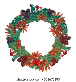 Hand drawn wreath with red berries and fir branches. Round frame for Christmas cards and winter design. Vector christmas card template with copyspace. EPS10 vector illustration