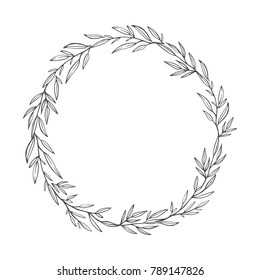 Hand drawn wreath. Romantic floral design element made of branches, leaves, twigs.