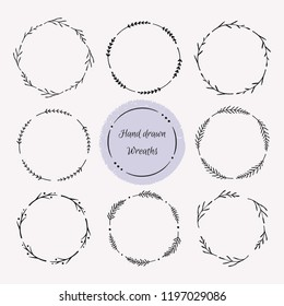 Hand drawn wreath set. Floral round frames, vector design elements for cards, invitations.