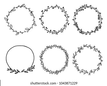 Hand drawn of wreath set vector design. floral leave for Cards and invitations.