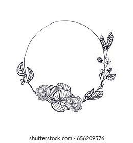 Hand drawn wreath in vector. Leaves and flowers garlands. Romantic floral design elements. Floral frame.