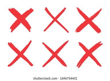 Hand drawn x marks.Set of grunge x sign.