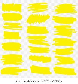 Hand drawn yellow highlight marker lines. . Highlighter drawing design illustration Vector illustration EPS10