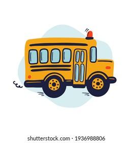 Hand drawn yellow school bus. Cute kids vector illustration.