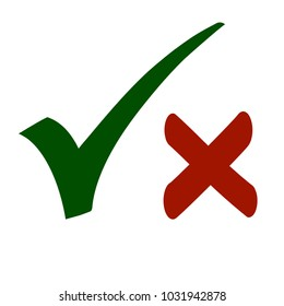 Hand Drawn Yes & No Check Mark Symbols in Red and Green Colors Isolated on White Background. Vector Illustration