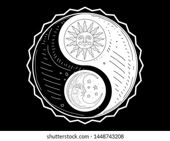 Hand Drawn Yin Yang Symbol, Sun and Moon with Face Monochrome Vector Illustration