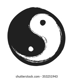 hand drawn ying yang symbol of harmony and balance,  vector design element
